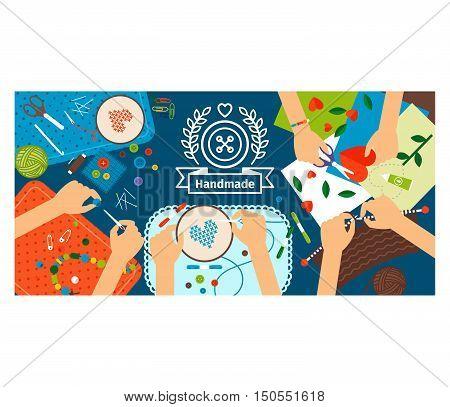 Handmade creative kids banner. Creative process with handmade vector illustration