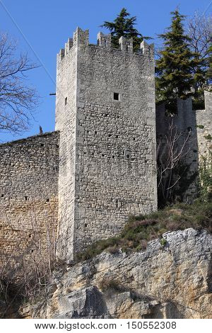 Bastion in the walls of the Republic of San Marino, Italy