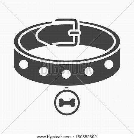 Dog collar rastr illustration icon in black design