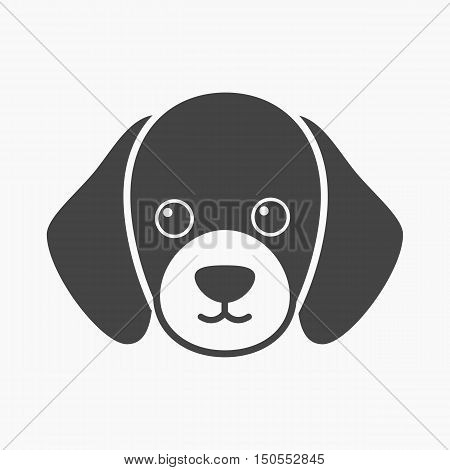 Dog muzzle rastr illustration icon in black design