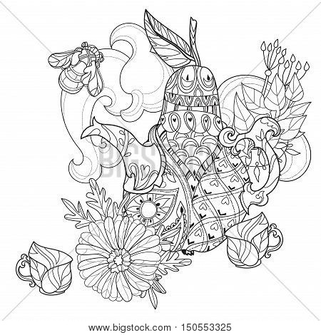 Honey tea pot pear doodle with cups .Hand drawn vector illustration. Sketch for tattoo adult relax coloring anti stress book. Zen art collection boho style.
