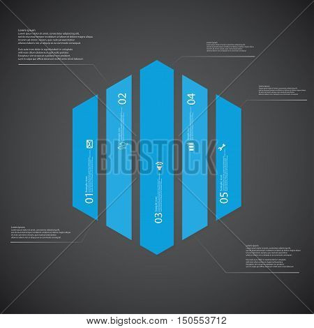 Illustration infographic template with shape of hexagon. Hexagonal shape vertically divided to five parts with blue colors. Each part contains Lorem Ipsum text number and sign. Background is dark.