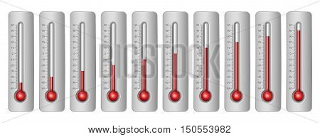 Thermometers with different levels and celsius scale. Vector Illustration