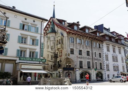 LUCERNE SWITZERLAND - MAY 08 2016: The historic building it is the seat of Suidter'sche Pharmacy it is the oldest Lucerne's pharmacy which its origins date back to the year 1833