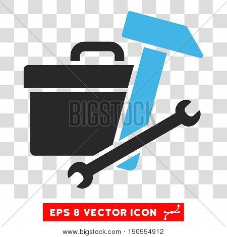 Vector Toolbox EPS vector icon. Illustration style is flat iconic bicolor blue and gray symbol on a transparent background.