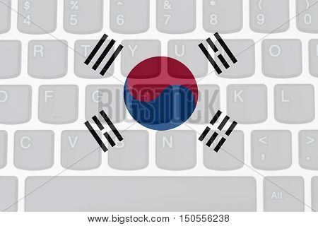 Restricted Internet access in South Korea The South Korean flag on a computer keyboard 3D Illustration