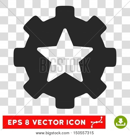 Vector Favorites Options Gear EPS vector pictograph. Illustration style is flat iconic gray symbol on a transparent background.