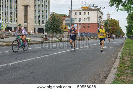 DNEPR UKRAINE - AUGUST 24, 2016: Men running in Vyshyvanka Run during Independence Day local activity in Dnepr Ukraine, at August 24, 2016