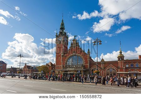 Gdansk Poland - October 04 2016: Crowd on a street near the Central Railway Station in Gdansk