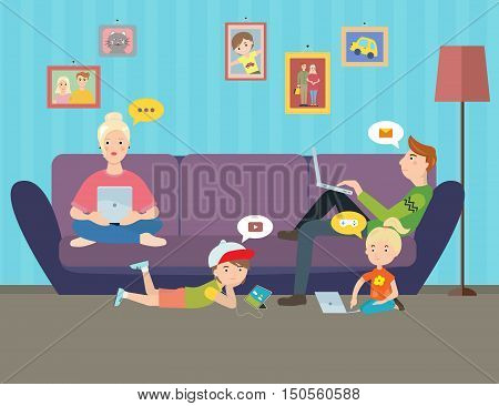 Illustration of Family using electronic gadgets. Parents and kids under hypnosis internet on computers at home. Vector illustration