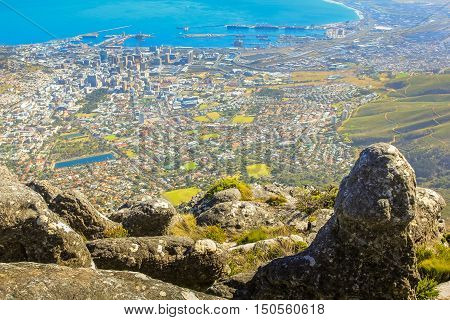Table Mountain National Park, Trail Hike. View on Cape Town, South Africa, Western Cape, from the top of Table Mountain.