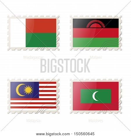 Postage Stamp With The Image Of Madagascar, Malawi, Malaysia, Maldives Flag.