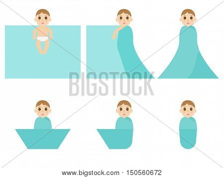 Vector illustration set of a cartoon small child in diapers. The concept Step by step instructions on how to swaddle a newborn baby. Isolate white background. Flat style. Infant in nappy.