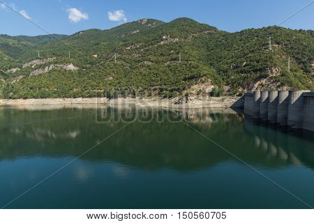 Landscape with green forest around Vacha (Antonivanovtsy) Reservoir, Rhodopes Mountain, Bulgaria