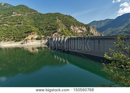 Dam of the Vacha (Antonivanovtsy) Reservoir, Rhodopes Mountain, Bulgaria