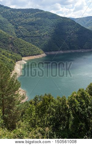 Panoramic view of Meander of Vacha (Antonivanovtsy) Reservoir, Rhodopes Mountain, Bulgaria