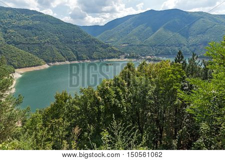 View of Meander of Vacha (Antonivanovtsy) Reservoir, Rhodopes Mountain, Bulgaria