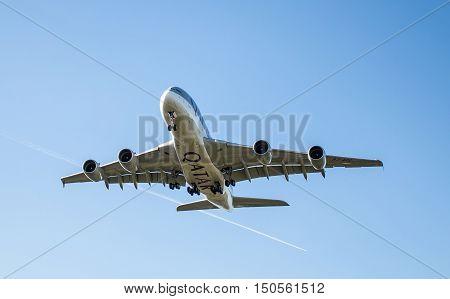 LONDON HEATHROW UK - 03 OCTOBER 2016: Airbus A380 Qatar Airlines Landing at London Heathrow airport