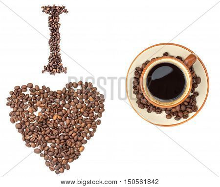 I love coffee. Isolated set. Heart from coffee beans cup. White background. Set for coffee design.