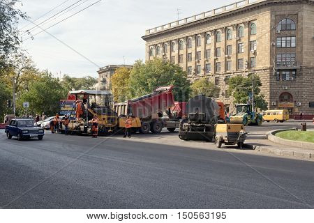 Repair Works On Replacement Of An Asphalt Covering Of Roads In The City Centre