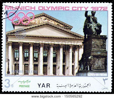YEMEN - CIRCA 1972 : Cancelled postage stamp printed by Yemen, that shows National theater.