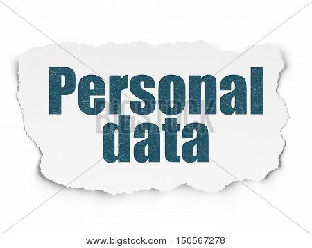Information concept: Painted blue text Personal Data on Torn Paper background with Scheme Of Binary Code