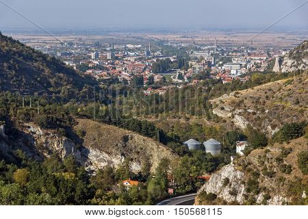 Panorama of town of Asenovgrad from Asen's Fortress,  Plovdiv Region, Bulgaria