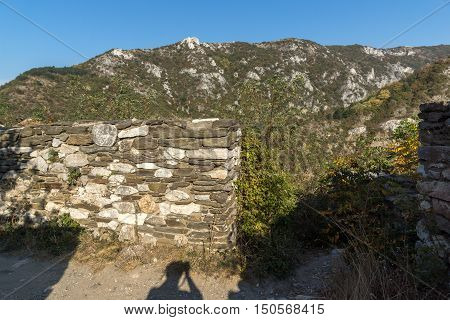 Landscape to  Rhodopes mountain and ruins from Asen's Fortress,  Plovdiv Region, Bulgaria