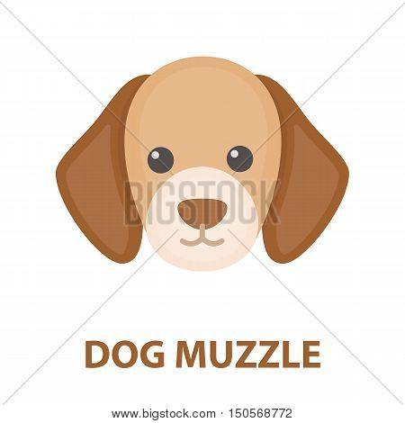 Dog muzzle rastr illustration icon in cartoon design