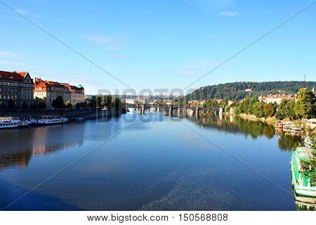 Prague Czech Republic panorama with historic Charles Bridge and Vltava river