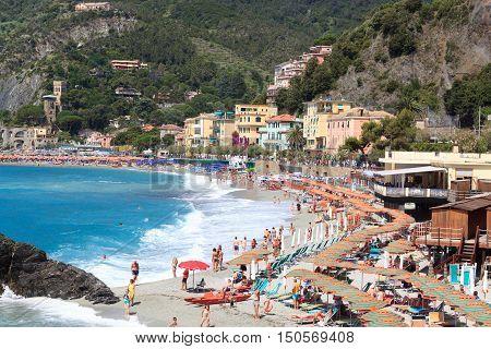 Beach At Cinque Terre Village Monterosso Al Mare And Mediterranean Sea, Italy