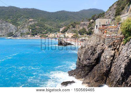 Rocky Coast At Cinque Terre Village Monterosso Al Mare And Mediterranean Sea, Italy
