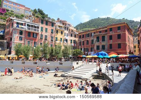 Crowded Cinque Terre Village Vernazza With Beautiful Colorful Houses, Italy