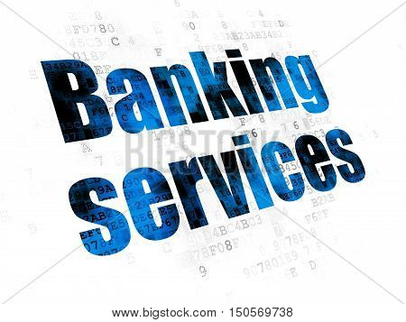 Banking concept: Pixelated blue text Banking Services on Digital background