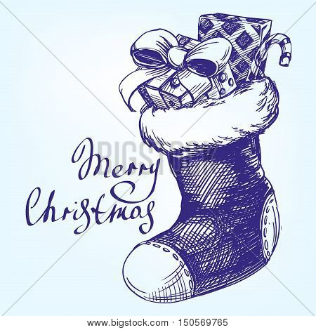 Decorative Christmas ornament, Christmas sock hand drawn vector llustration realistic sketch