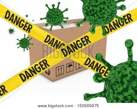 Virus Infected Package Behind Danger Tape 3D Illustration