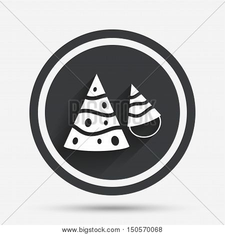 Party hat sign icon. Birthday celebration symbol. Circle flat button with shadow and border. Vector