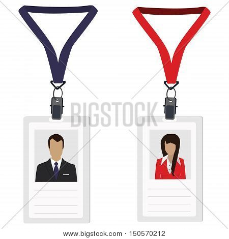 Vector illustration white plastic lanyard badge with woman and man photo vector isolated. Name badge. Name tag. Employee badge