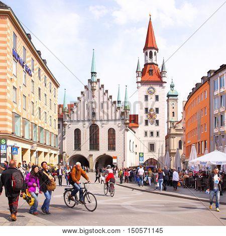 MUNICH, GERMANY - May 18, 2016: People near Old Town hall at Marienplatz in Munich