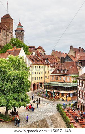 NUREMBERG, GERMANY - May 17, 2016: View square in Old Town in Nuremberg