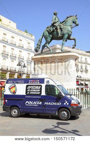 MADRID, SPAIN - September 06, 2016: Police car on Plaza del Sol in Madrid