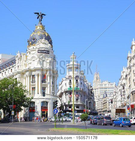 MADRID, SPAIN - September 01, 2016: Road traffic near Metropolis building in Madrid