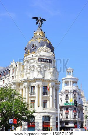 MADRID, SPAIN - September 01, 2016: Metropolis building on the corner of Calle de Alcala and Gran Via in Madrid