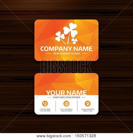 Business or visiting card template. Clovers with three leaves sign icon. Saint Patrick trefoil shamrock symbol. Phone, globe and pointer icons. Vector