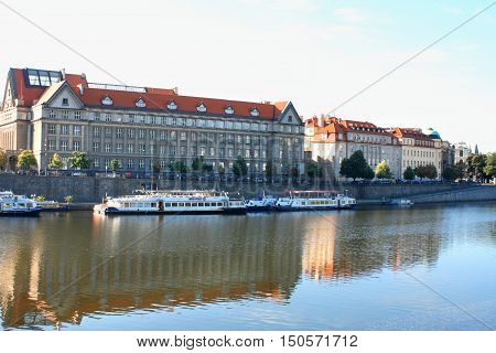 Prague Czech Republic panorama and Vltava river