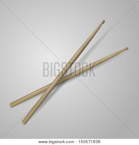 realistic 3d render of drum sticks. vector illustration on white background.