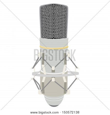 Vector illustration white vintage microphone. Retro microphone isolated on white. Microphone icon