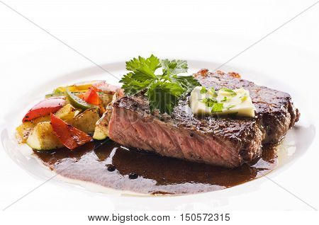 Juicy Thick Grilled T-bone Beef Steak Seasoned With Rosemary Fresh Of The Summer Bbq Viewed From Abo