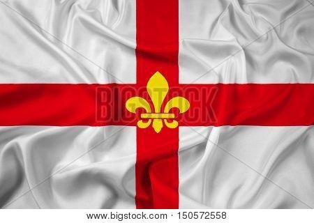 Waving Flag Of Lincoln City, England, Uk