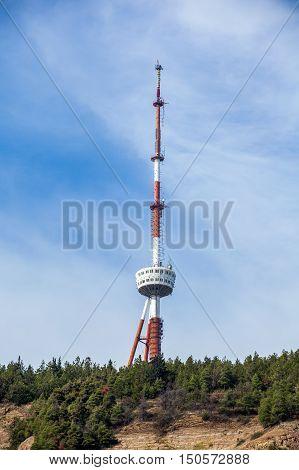Tbilisi TV tower on Mount Mtatsminda - Georgia.